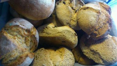 Panes de masa madre de la Finca de Río Pradillos. Los hay integrales, de espelta, kamut en forma de molde y hogaza.